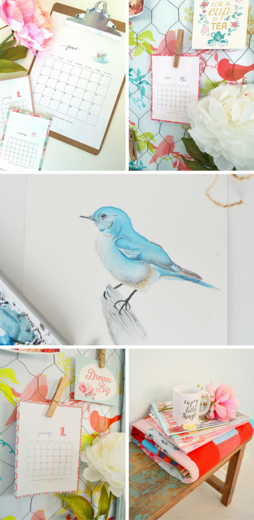 bluebird watercolour, handmade calendar on clipboard, index card size calendar on message board with clothespin, enjoy the little things mug on quilt