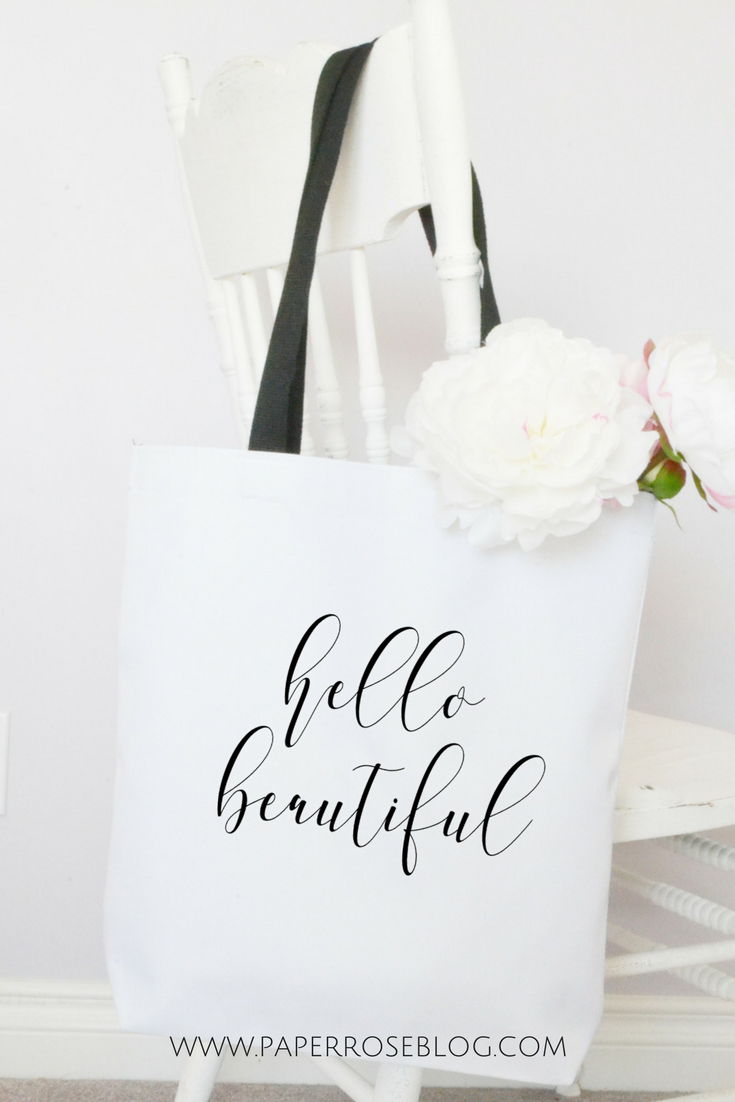 Well-known Calligraphy Script Tote Bag Hello Beautiful | Paper Rose XN66