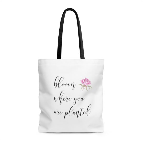 """white tote bag with black handle with quote,""""bloom where you are planted"""" and a watercolour rose"""