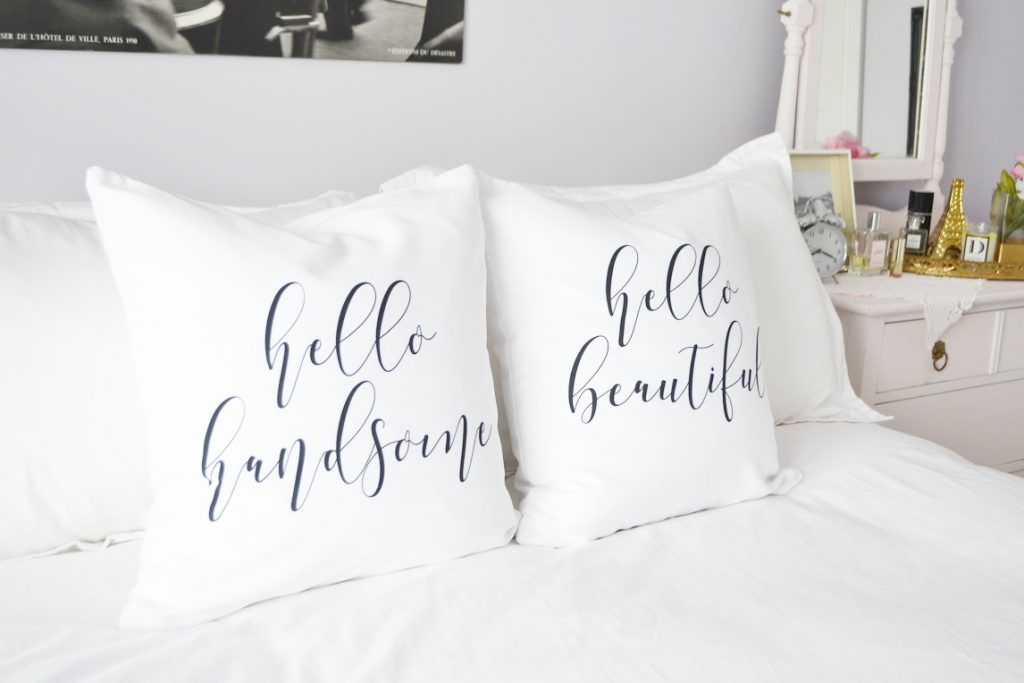 decorating-with-throw-pillows-hello-handsome-hello-beautiful-script