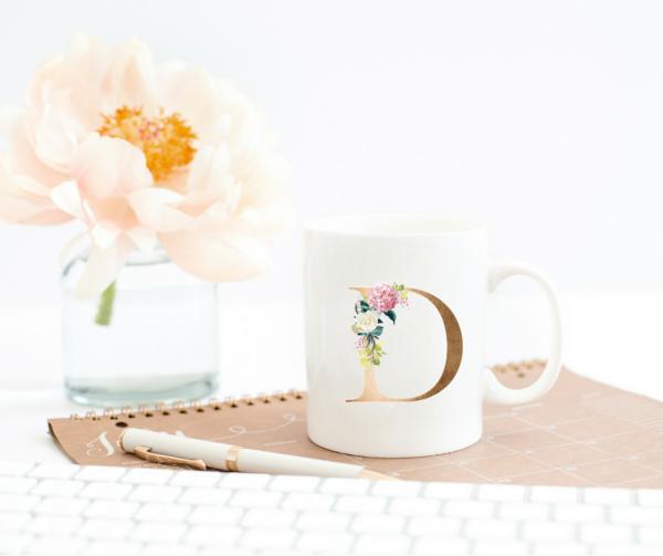floral-initial-mug