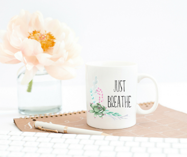 just-breathe-mug-flower-in-vase-keyboard-notebook