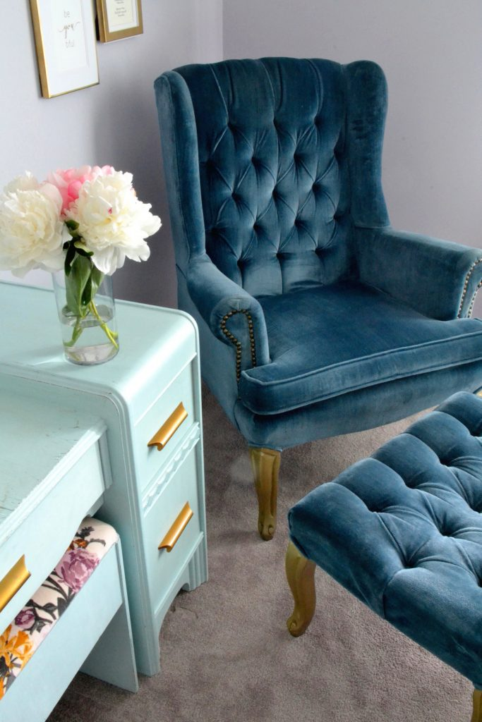 blu-wingback-chair-footstool-blue-dresser-flowers