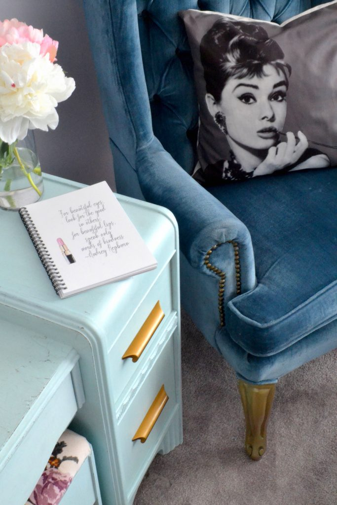audrey-hepburn-quote-journal-blue-dresser-blue-wingback-chair
