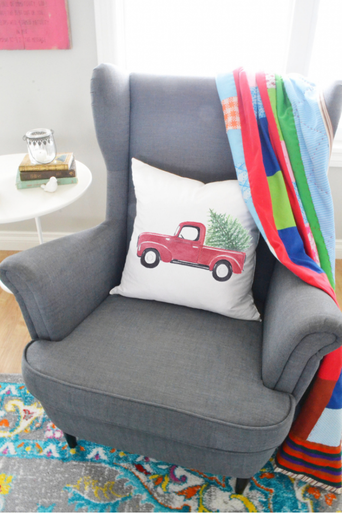 decorating-with-throw-pillows-red-truck-pillow