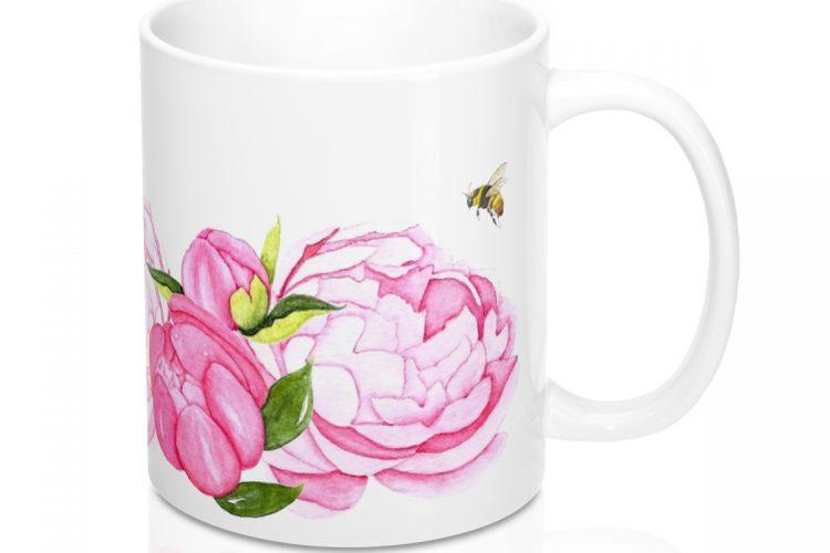 Peony and Bee Coffee Mug
