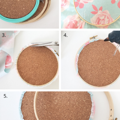 Embroidery Hoop Cork Board